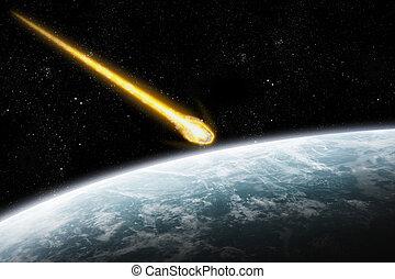 планета, земля, над, asteroids