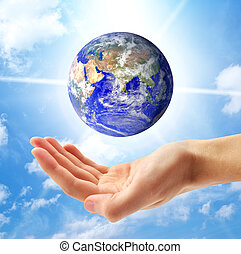 планета, земля, человек, рука