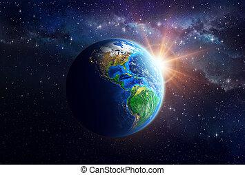 планета, земля, outer, пространство
