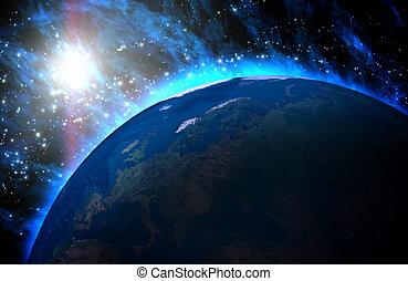 планета, земля, universe., восход