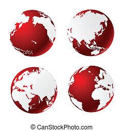планета, мир, глобальный, земля, значок