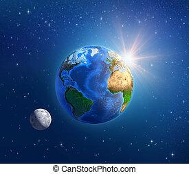 планета, пространство, солнечный свет, глубоко, лунный свет, земля