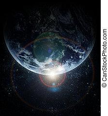 планета, реалистический, земля, пространство
