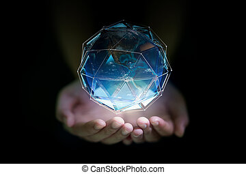 планета, рука, день, концепция, человек, земля