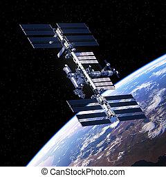 планета, станция, международный, orbiting, пространство, земля
