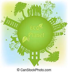 планета, экологический, зеленый