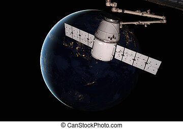 планета, orbiting, пространство, дракон, earth., икс