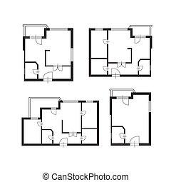 план, архитектор, здание, задавать, мебель, вектор, дизайн, квартира