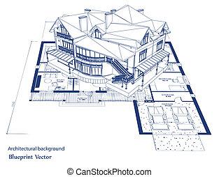план, вектор, house., архитектура