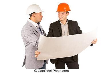 план, partners, discussing, архитектор, два