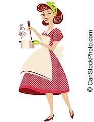 платье, вектор, кухня, марочный, домохозяйка, room., стиль, ее, горшок, isolated, красный, суп, держа, штырь, белый, иллюстрация, готовка, вверх, ретро