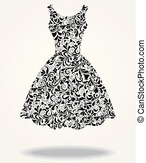 платье, вектор, силуэт, isolated, назад