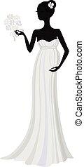 платье, силуэт, беременная, длинный, невеста, вектор