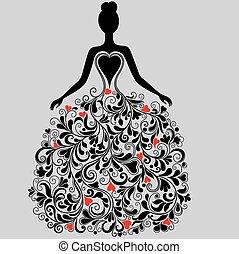 платье, элегантный, вектор, силуэт