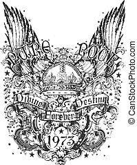 племенной, корона, крыло, иллюстрация