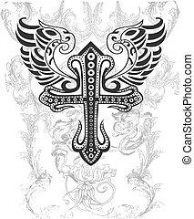 племенной, пересекать, иллюстрация, крыло