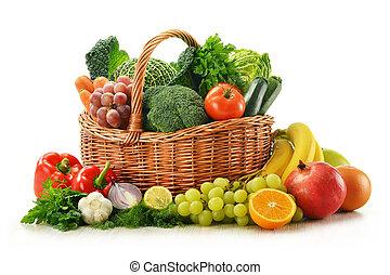 плетеный, vegetables, isolated, fruits, корзина, белый, состав