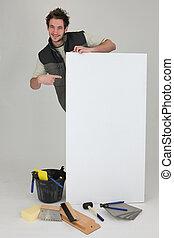 плиточник, реклама, pointing, панель