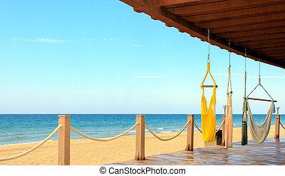 пляжный, спокойствие, mexico., relaxation., место, море, cortez, посмотреть
