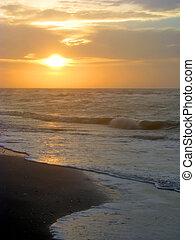 пляж, восход