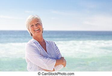 пляж, в отставке, женщина, счастливый