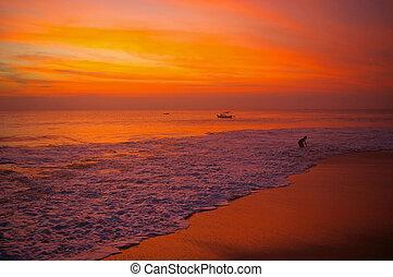 пляж, закат солнца, бали