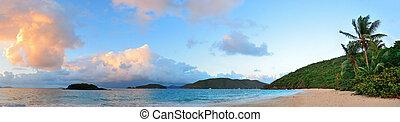 пляж, закат солнца, панорама
