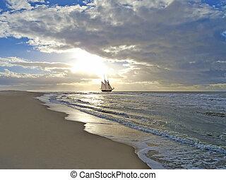 пляж, корабль, закат солнца, море, парусный спорт
