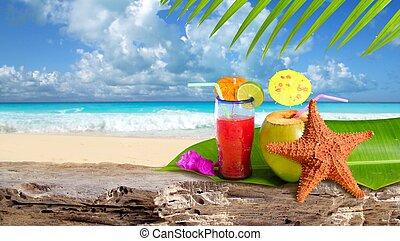 пляж, морская звезда, коктейль, тропический, кокос