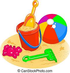 пляж, мяч, ведерко, toys, -, лопата