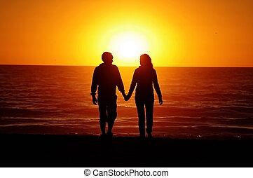 пляж, пара, закат солнца, любящий