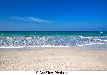 пляж, против, синий, чисто, воды, небо, море, кристалл, красивая