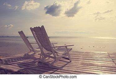 пляж, фильтр, облицовочный, стул, деревянный, морской пейзаж, марочный, эффект, белый