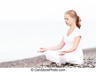 пляж, meditating, женщина, йога, лотос
