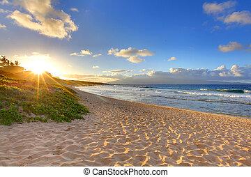 пляж, oneloa, гавайи, тропический, закат солнца, пляж, maui