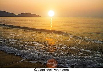 пляж, thailand., утро