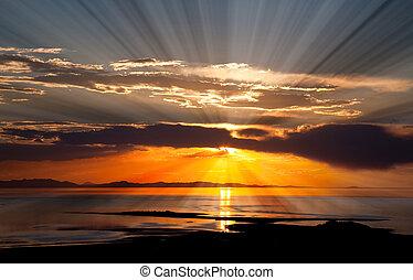 поваренная соль, великий, закат солнца, озеро, красочный
