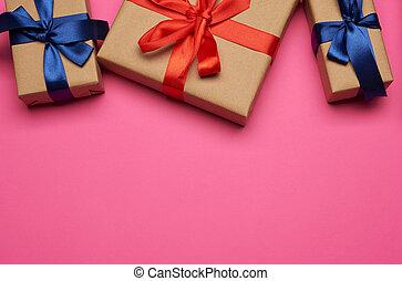подарок, розовый, лук, boxes, gifts, задний план, завернутый, бумага, tied, синий, красный, коричневый