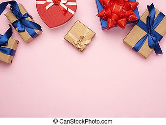 подарок, синий, gifts, задний план, завернутый, лук, бумага, красный, розовый, коричневый, boxes, tied