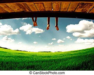 подвешивание, ноги, природа