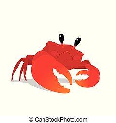 подводный, стиль, красочный, pose., милый, персонаж, isolated, квартира, мультфильм, background., вектор, иллюстрация, краб, элемент, оранжевый, коготь, белый, круто, ваш, красный, design.
