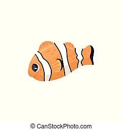подводный, creature., вектор, квартира, морской, рыба, персонаж, ветреница, оранжевый, clownfish., дизайн, colors., море, animal., wildlife., белый, adorable, мультфильм, черный