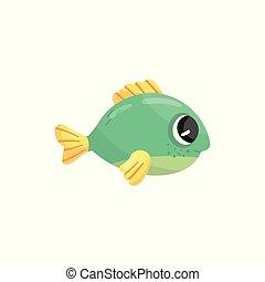 подводный, creature., водный, блестящий, красочный, квартира, adorable, рыба, зеленый, желтый, мультфильм, вектор, дизайн, море, animal., маленький, wildlife., eyes., морской, fins