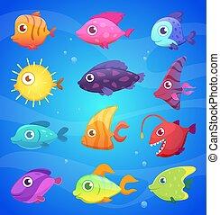 подводный, eyes, animals, красочный, fish., большой, жизнь, океан, веселая, вектор, море, illustrations, мультфильм