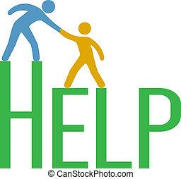 поддержка, ответ, люди, шаг, вверх, найти, помогите