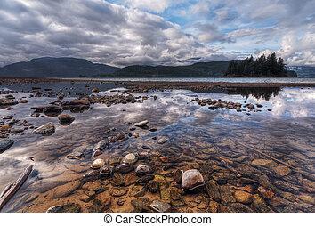 подметание, пейзаж, отражение, красочный, rocks