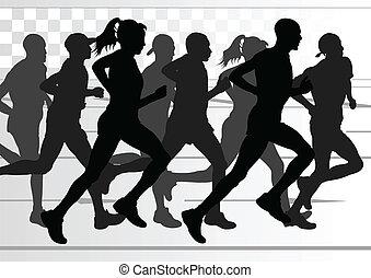 подробный, женщина, иллюстрация, марафон, активный, runners, человек