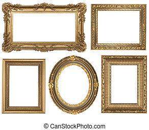 подробный, квадрат, золото, марочный, овальный, frames, picure, пустой