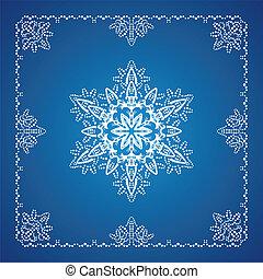 подробный, снежинка, 1, один, граница, рождество