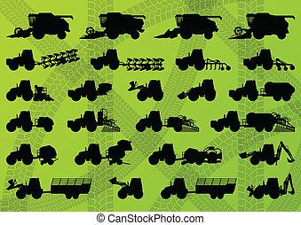 подробный, combines, промышленные, trucks, harvesters, tractors, иллюстрация, оборудование, silhouettes, вектор, excavators, коллекция, задний план, сельское хозяйство, сельское хозяйство